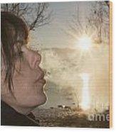 Woman Exhalation Wood Print