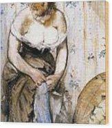 Woman Fastening Her Garter Wood Print