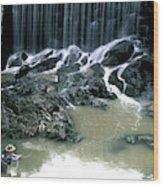 Woman Flyfishing Below Waterfall Wood Print