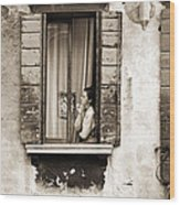 Woman Gazing Out Of A Window Contemplating Wood Print by Stephen Spiller
