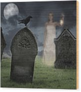 Woman Haunting Cemetery Wood Print