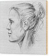 Woman Head Study Wood Print