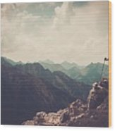 Woman Hiker On A Top Of A Mountain Wood Print