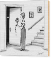 Woman Holding Lamp Stands At Dark Bedroom Doorway Wood Print