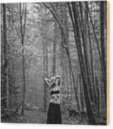 Woman In A Forrest Wood Print