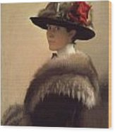 Woman In A Fur Hat Wood Print by Gretchen Woodman Rogers