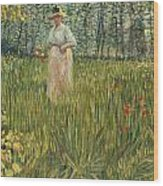 Woman In A Garden Wood Print