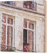 Woman In A Paris Window Wood Print