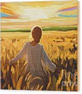 Woman In A Wheat Field Wood Print