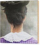 Woman In Black Hat Wood Print