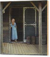 Woman In Cabin Doorway Wood Print