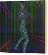 Woman In Cyber Passage Wood Print