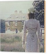 Woman In Front Of A Manor Wood Print by Joana Kruse