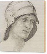 Woman In Hat, Detail From A Sketchbook Wood Print by Sir Edward Coley Burne-Jones