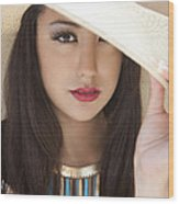 Woman In Hat Wood Print