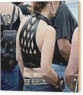 Woman In Leather Halter Wood Print
