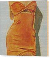 Woman In Orange Dress Wood Print