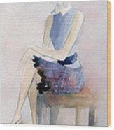 Woman In Plaid Skirt And Big Sunglasses Fashion Illustration Art Print Wood Print