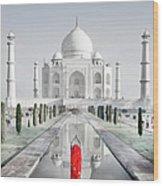 Woman In Red Sari Praying At Taj Mahal Wood Print
