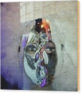 Woman In Silver Mask Wood Print