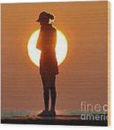 Woman In Sunrise Wood Print