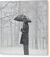 Woman In The Forest With An Umbrella Wood Print