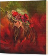 Woman In The Poppy Hat Wood Print