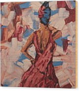Woman In The Red Gown Wood Print by Lee Ann Newsom
