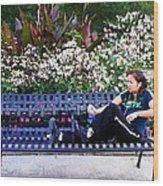 Woman In Wicker Park Wood Print by Shawn Lyte