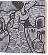 Woman Is Coming From The Farm With Firewood On Her Head Wood Print