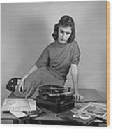 Woman Listening To Records Wood Print