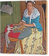 Woman Making Lace In Louisbourg Living History Museum-1744-ns Wood Print