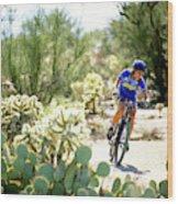 Woman Mountain Biking In Arizona Wood Print