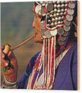 Akha Hill Tribe Woman  Thailand Wood Print