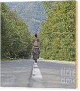 Woman On A Road Wood Print