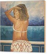 Woman On A Yacht Wood Print