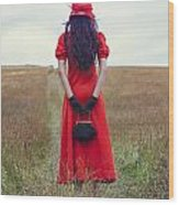 Woman On Field Wood Print