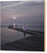 Woman On Footbridge Wood Print