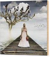 Woman On Pier Wood Print