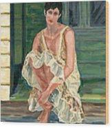 Woman On Porch Wood Print