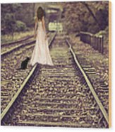 Woman On Railway Line Wood Print