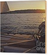 Woman On Sailboat Sunset Wood Print