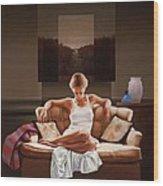 Woman On Sofa Wood Print