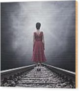 Woman On Tracks Wood Print