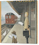 Woman On Train Platform Looking At Easter Bunny Wood Print