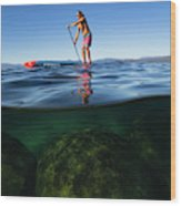 Woman Paddleboarding In The Lake, Lake Wood Print