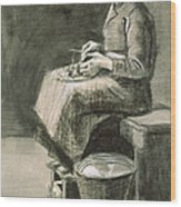 Woman Peeling Potatoes, 1882 Wood Print