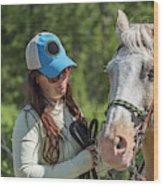 Woman Pets A Horse Wood Print