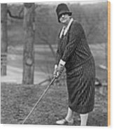 Woman Ready To Play Golf Wood Print