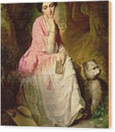 Woman Seated In A Forest Glade Wood Print